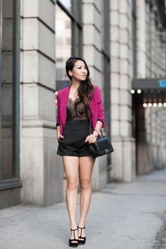 Lace Suit :: High-waisted shorts & Magenta blazer