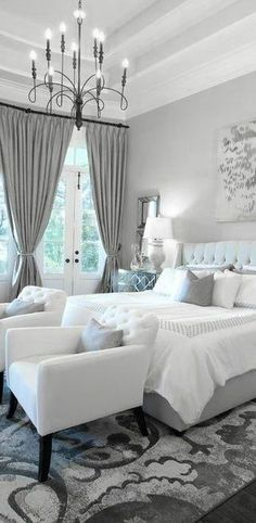 Grey and White Bedroom Design. Grey and White Bedroom Design. Bedroom Decor Gorgeous Gray and White Bedroom Decor with White Wall Bedroom, White Bedroom Furniture, Home Decor Bedroom, Gray Bedroom, Bedroom Boys, Bedroom Curtains, Bedroom Colors, Bedroom Armchair, Burgundy Bedroom
