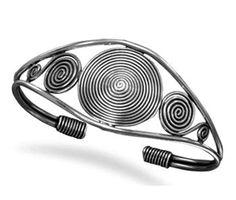 Designer Spiral Silver hand Cuff  | Designer jewellery online