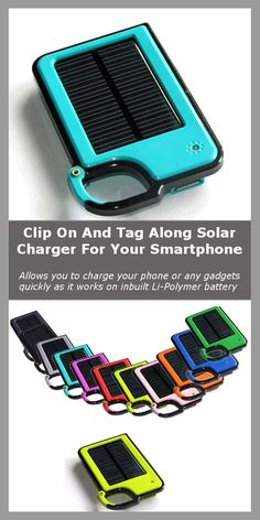 """The Clip on and Tag Along Solar Battery with USB port for your Smartphone.. It allows you to charge your phone or any gadgets quickly as it works on inbuilt Li-Polymer battery similar to the batteries found in mobile phones. It continually stores sunlight to the inbuilt battery when exposed to sunlight. It then keeps this stored power ready to charge your phone or gadgets. his cycle continues every time it is exposed to sunlight. Solar Battery, Solar Charger, Solar Powered Phone Charger, Cool Gadgets, Camping Gadgets, Gadgets And Gizmos, Tech Gadgets, Travel Gadgets, Camping Gear"