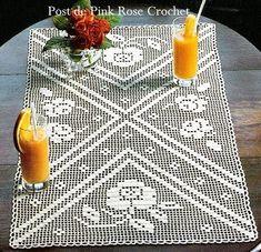 Filet Crochet, Crochet Motif, Crochet Doilies, Crochet Stitches, Coffee Table Runner, Table Runners, Crochet Table Runner, Crochet Tablecloth, Knitting Patterns