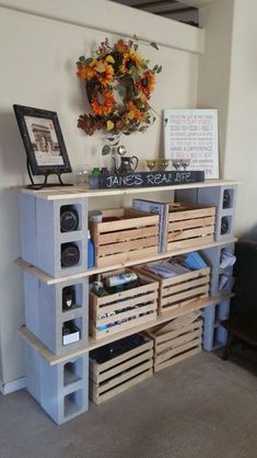 How to Build Cinderblock Shelves DIY diy office workspace revamp Related posts: How to Build a Simple Modern DIY Bookshelf New Diy Shelves Built In Bookshelves Ideas How To Build A Simple Bookshelf: West Elm Knock-Off – DIY Diy Dorm Decor, Room Decor, Cinder Block Shelves, Cinder Blocks, Cinder Block Ideas, Cinder Block Bench, Cinder Block Garden, Cinder Block Furniture, Cube Storage Shelves