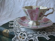 Vintage Tea Cup & Saucer Footed Cup Pink by WhenRosesBloomShop