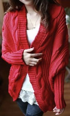 style outfit apparel fashion clothing women red cardigan white top jeans