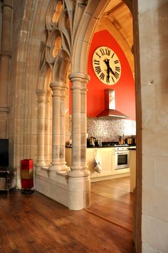An unusual kitchen Photographer: Jan Murtomaa Architecture Details, Interior Architecture, Classical Architecture, Future House, My House, Transformers, Church Conversions, Church Interior, Old Churches