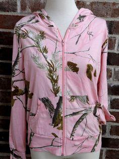 Realtree Women's Camo Pink Logo Hooded Jacket Zip Front Hoodie L 12 14 Large #Realtree #Hoodie