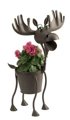 "Hal the Moose indoor or outdoors (garden) décor plant stands. Holds 6"" pots - 23"" inches tall by Georgetown. Save 7 Off!. $46.25. made of metal. 6"" pot, 23"" tall. requires no tools for assembly. weather resistant finish. stand alone. Hal the moose is a 6"" pot and 23"" tall.  It is made of metal and has a weather resistant finish.  There are no tools necessary for assembly."