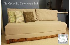 DIY couch-bed! complete with directions...sweet