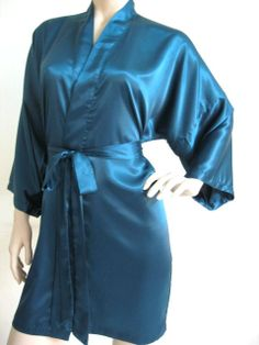 Silk Satin Kimono Robe  Green Teal / Solid by MaySilk on Etsy