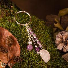 """Porte-clés en pierres, améthyste et quartz rose - """"Amulette des Esprits"""""""