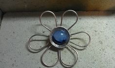 Druzy agate silver & copper pin made by Julie Reitenbach of AnJules