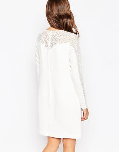 Image 2 ofReiss Caryn Lace Sleeve Shift Dress