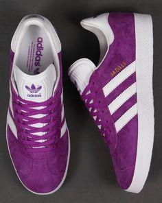 Adidas Gazelle Trainers Purple/White, Suede Originals,Mens,shock