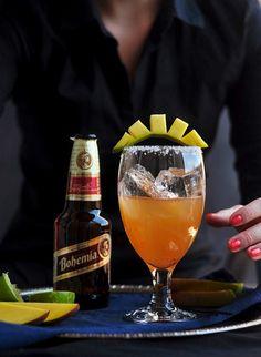 Mango Shrub Michelada--beer margarita meets michelada meets shrub. Refreshing any-time-of-day drink!