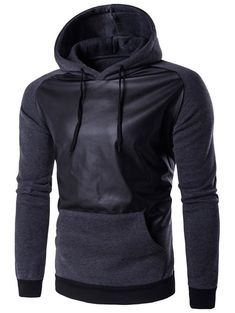 Hooded PU-Leather Splicing Raglan Sleeve Hoodie #shoes, #jewelry, #women, #men, #hats, #watches