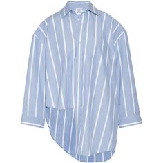 Vetements Oversized asymmetric striped cotton-poplin shirt (40,810 INR) ❤ liked on Polyvore featuring tops, shirts, vetements, blue, polka dot top, blue pinstripe shirt, blue top, tailored fit shirts and oversized tops