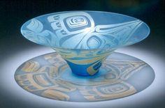 Unique Indian glass bowl - Preston Singletary, Tlingit