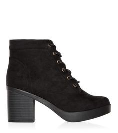 Black Lace Up Block Heel Boots