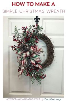 There's no need to over-complicate your wreath design. Learn how to make this simple Christmas wreath perfect for your own home or resale. Grapevine Christmas, Christmas Wreaths To Make, How To Make Wreaths, Holiday Wreaths, Simple Christmas, Grapevine Wreath, Christmas Crafts, Christmas Decorations, Christmas Ideas