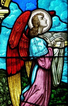 West nave windows - Assumption RC Church  435 Amherst Street, Buffalo, NY 14207  Baptism of Jesus--angel