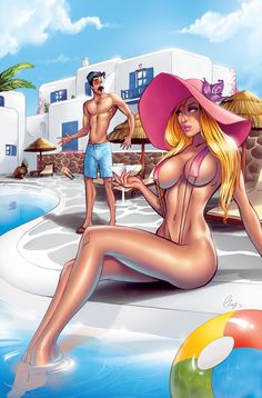 Samantha at the pool by Elias-Chatzoudis on deviantART