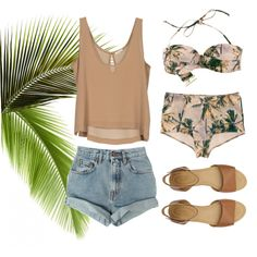 A fashion look from January 2013 featuring high waisted bikini swimwear, high rise shorts and stacked heel sandals. Browse and shop related looks.