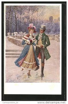 2016 Old Christmas Post Card – 'Figure skating' Old Time Christmas, Christmas Post, Old Fashioned Christmas, Christmas Scenes, Victorian Christmas, Xmas, Christmas Couple, Christmas Greetings, Images Vintage
