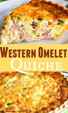 This colorful Western Omelet Quiche is what happens when a savory pie and a Western omelet collide. Eggs, cheese, peppers, green onion and ham all baked together with a luscious creamy custard in deep dish pie shell. Not only is this quiche easy but, it reheats beautifully, too. That could only spell deliciousness in my cookbook. #food #recipes #dinner #desserts #vegetarian #healthyrecipes #easyrecipe #foodrecipes