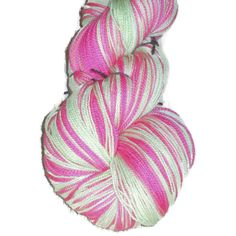 "Superwash Merino Wool Lace Yarn, 2-ply Pink and Apple Green ""Roses and Apples"""