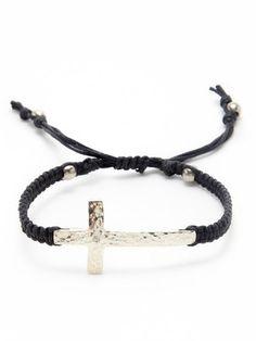 Tai Jewelry Silver Cross & Black Cord Bracelet