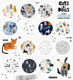 Cats&Dogs graphic collection by solmariart on Cat Pattern, Pattern Drawing, Vector Pattern, Kids Patterns, Cool Patterns, Cute Cats And Dogs, Baby Shower Cards, Pattern Illustration, Surface Pattern Design