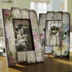 attach painted distressed wood/driftwood to plain glass frame £1 shop