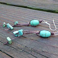 Turquoise+Blue+Earrings++Dangle+Earrings+by+ElectricPenguin