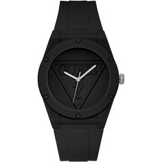 Guess Unisex Iconic Logo Black Silicone Strap Watch 42mm ($65) ❤ liked on Polyvore featuring jewelry, watches, black, unisex watches, guess jewelry, logo jewelry, guess watches and guess jewellery