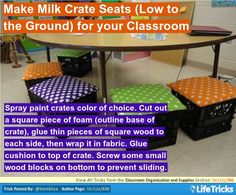 Keep glue-soaked sponges in plastic Cool Whip or yogurt containers. Put the lids back on when storing, and these little glue dabbers will last you a long time. Crate Bar, Crate Bench, Crate Shelves, Milk Crate Chairs, Milk Crates, Classroom Organization, Classroom Decor, Wooden Crates Garden, Crate Decor