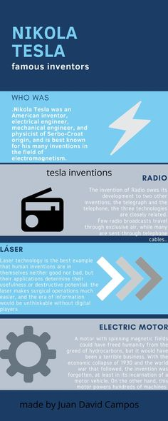 Apr 2020 - Inventor that the students of like. See more ideas about Infographic, Inventions and Medical robots. Nikola Tesla, Mechanical Engineering, Electrical Engineering, Invention Of Radio, Tesla Inventions, Physicist, Student, Good Things, Physique
