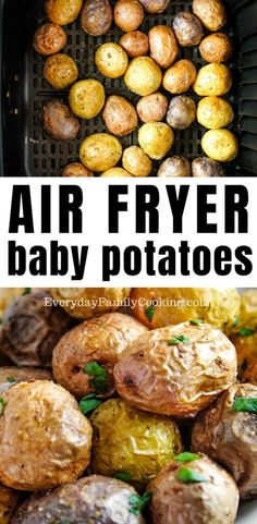 The best quick recipe for air fryer baby potatoes. Enjoy these small whole baby potatoes with a crispy inside and fluffy inside. They are subtly seasoned with salt and herbs to create a delicious potato side dish. Air Fryer Oven Recipes, Air Frier Recipes, Air Fryer Dinner Recipes, Air Fryer Recipes Potatoes, Air Fryer Baked Potato, Small Potatoes Recipe, How To Cook Potatoes, Baby Potato Recipes, Small Air Fryer