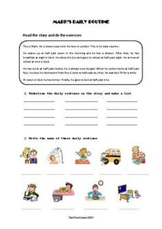 This reading comprehension is aimed to Primary level students who are learning about the hours and their daily routines.There is a short text followed by 4 different tasks: vocabulary, matching, true or false and guided writing.