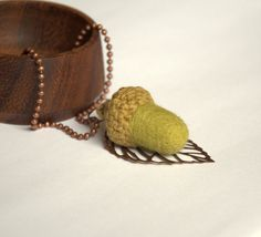 Felted acorn necklace Olive green wool nature by astashtoys,