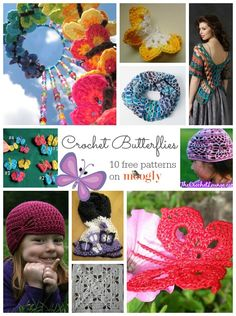 Butterfly #Crochet Patterns - free pattern roundup from Mooglyblog.com. I really like the wrap and some of the butterflies are beautiful.