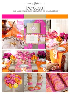 Moroccan wedding inspiration board, hot pink, orange, gold, color palette, mood board via Weddings Illustrated