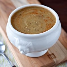 Negative Calorie Roasted Asparagus and Cauliflower Soup. According to some experts, this soup has less than zero calories. #vegan