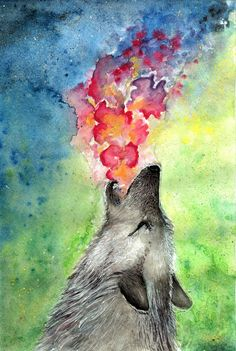 Wolf howling painting.