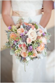 Peach, Cream, Lavender and Succulent Wedding Bouquet // Two Buds and a Blossom // Sarah Hays Photography.... ♥ How about this bouquet Claire? Would tie in with the pastel theme and you would swap some out for more wild flowers?