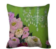 Decorative throw pillow apple green with chandelier pink roses by femmehesse on Etsy https://www.etsy.com/listing/213771364/decorative-throw-pillow-apple-green-with