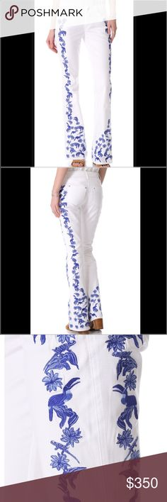 Rebecca Minkoff Embroidered Slim Bootcut - NEW! Tropical embroidery adds a bold touch to a pair of crisp white boot-cut jeans. Embroidery is very detailed and absolutely gorgeous! 💖💋5-pocket styling. Single-button closure and zip fly. SOLD OUT EVERYWHERE! Guarenteed you won't find it anywhere else brand new! NWOT. 5833679. Fabric: Stretch denim. 97% cotton/3% spandex.  MEASUREMENTS Rise: 8.5in / 21.5cm Inseam: 34in / 86.5cm Leg opening: 22in / 56cm Rebecca Minkoff Jeans