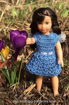 Basic Crochet Sundress for Mini American Girl Doll - http://www.abc-knitting-patterns.com/1422.html
