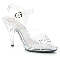 91d9611b503 CARESS-408SD Fabulicious Sexy Shoes 4 Inch Stiletto Heel Ankle Strap  Rhinestone Sandals