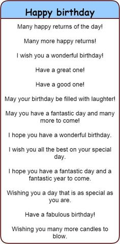 Fun and different ways to wish people 'happy birthday' in English. - Fun and different ways to wish people 'happy birthday' in English. 'Happy birthday' in 30 different languages. English Vocabulary Words, Learn English Words, English Phrases, English Idioms, English Lessons, Learn English Speaking, English Fun, Sms Language, English Language Learning