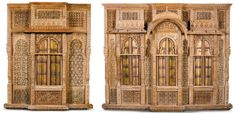 Indian hardwood architectural facades , Gujurat, late 18th/early 19th century the larger 219cm. high, 267cm. wide; 7ft. 2in., 8ft. 9¼in. the smaller 216cm. high, 172cm. wide; 7ft. 1in., 5ft. 7¾in